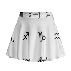 Set Of Black Web Dings On White Background Abstract Symbols Mini Flare Skirt by Amaryn4rt