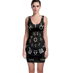Astrology Chart With Signs And Symbols From The Zodiac Gold Colors Sleeveless Bodycon Dress by Amaryn4rt