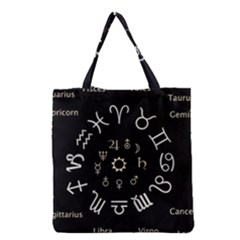 Astrology Chart With Signs And Symbols From The Zodiac Gold Colors Grocery Tote Bag by Amaryn4rt