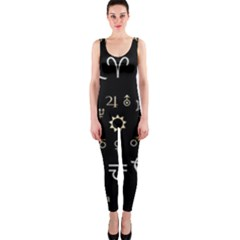 Astrology Chart With Signs And Symbols From The Zodiac Gold Colors Onepiece Catsuit by Amaryn4rt
