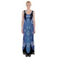 Astrology Birth Signs Chart Maxi Thigh Split Dress by Amaryn4rt