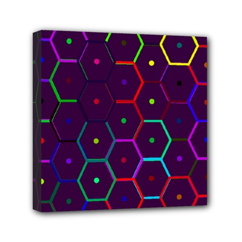 Color Bee Hive Pattern Mini Canvas 6  X 6  by Amaryn4rt