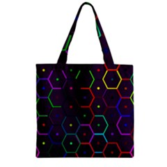 Color Bee Hive Pattern Zipper Grocery Tote Bag by Amaryn4rt