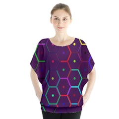 Color Bee Hive Pattern Blouse by Amaryn4rt