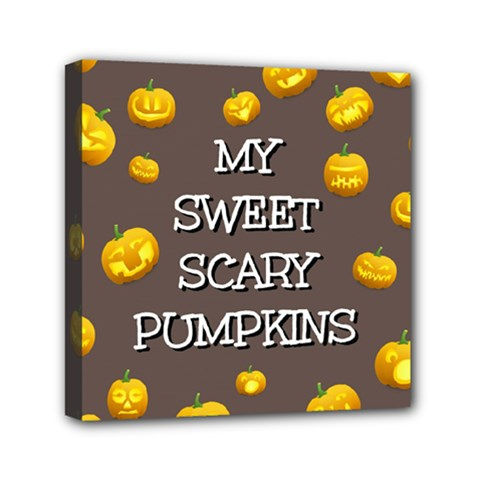 Scary Sweet Funny Cute Pumpkins Hallowen Ecard Mini Canvas 6  X 6  by Amaryn4rt