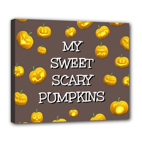Scary Sweet Funny Cute Pumpkins Hallowen Ecard Deluxe Canvas 24  X 20