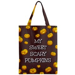 Scary Sweet Funny Cute Pumpkins Hallowen Ecard Zipper Classic Tote Bag by Amaryn4rt