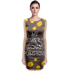 Scary Sweet Funny Cute Pumpkins Hallowen Ecard Classic Sleeveless Midi Dress by Amaryn4rt