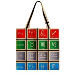 Set Of The Twelve Signs Of The Zodiac Astrology Birth Symbols Grocery Tote Bag by Amaryn4rt