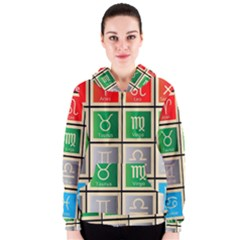 Set Of The Twelve Signs Of The Zodiac Astrology Birth Symbols Women s Zipper Hoodie by Amaryn4rt
