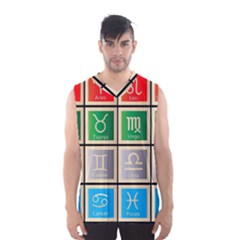 Set Of The Twelve Signs Of The Zodiac Astrology Birth Symbols Men s Basketball Tank Top by Amaryn4rt