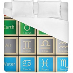 Set Of The Twelve Signs Of The Zodiac Astrology Birth Symbols Duvet Cover (king Size)