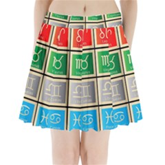 Set Of The Twelve Signs Of The Zodiac Astrology Birth Symbols Pleated Mini Skirt
