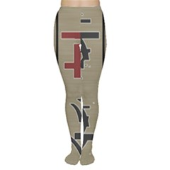 Xia Script On Gray Background Women s Tights
