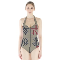 Xia Script On Gray Background Halter Swimsuit by Amaryn4rt