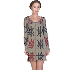 Ancient Chinese Secrets Characters Long Sleeve Nightdress by Amaryn4rt