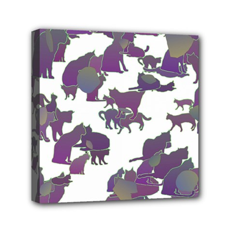 Many Cats Silhouettes Texture Mini Canvas 6  X 6  by Amaryn4rt