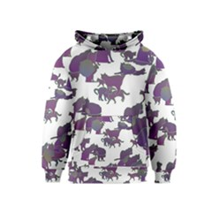 Many Cats Silhouettes Texture Kids  Pullover Hoodie by Amaryn4rt