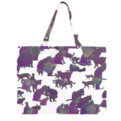 Many Cats Silhouettes Texture Zipper Large Tote Bag by Amaryn4rt
