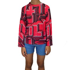 Background With Red Texture Blocks Kids  Long Sleeve Swimwear by Amaryn4rt