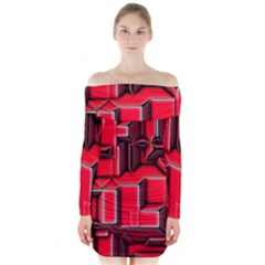 Background With Red Texture Blocks Long Sleeve Off Shoulder Dress