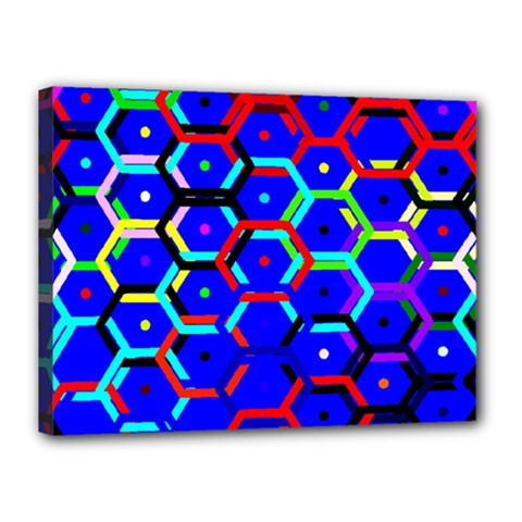Blue Bee Hive Pattern Canvas 16  X 12  by Amaryn4rt