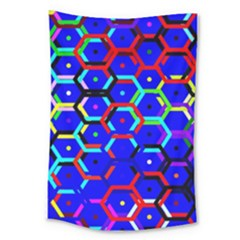 Blue Bee Hive Pattern Large Tapestry by Amaryn4rt