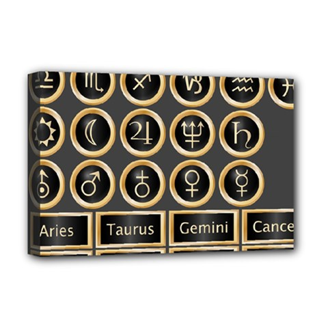 Black And Gold Buttons And Bars Depicting The Signs Of The Astrology Symbols Deluxe Canvas 18  X 12   by Amaryn4rt