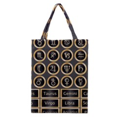 Black And Gold Buttons And Bars Depicting The Signs Of The Astrology Symbols Classic Tote Bag by Amaryn4rt