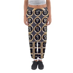 Black And Gold Buttons And Bars Depicting The Signs Of The Astrology Symbols Women s Jogger Sweatpants by Amaryn4rt