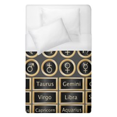 Black And Gold Buttons And Bars Depicting The Signs Of The Astrology Symbols Duvet Cover (single Size) by Amaryn4rt