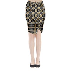 Black And Gold Buttons And Bars Depicting The Signs Of The Astrology Symbols Midi Wrap Pencil Skirt by Amaryn4rt