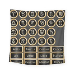 Black And Gold Buttons And Bars Depicting The Signs Of The Astrology Symbols Square Tapestry (small) by Amaryn4rt