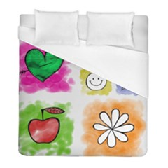 A Set Of Watercolour Icons Duvet Cover (full/ Double Size) by Amaryn4rt