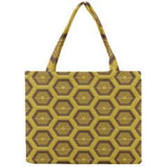 Golden 3d Hexagon Background Mini Tote Bag by Amaryn4rt