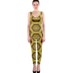 Golden 3d Hexagon Background Onepiece Catsuit by Amaryn4rt