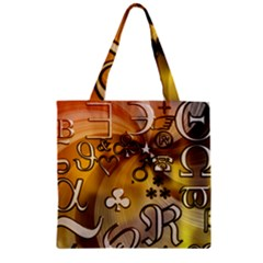 Symbols On Gradient Background Embossed Zipper Grocery Tote Bag by Amaryn4rt
