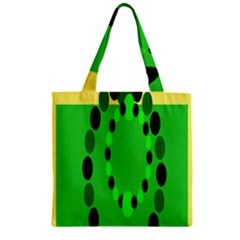 Circular Dot Selections Green Yellow Black Zipper Grocery Tote Bag by Alisyart
