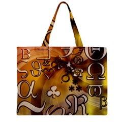 Symbols On Gradient Background Embossed Zipper Mini Tote Bag by Amaryn4rt