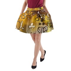 Symbols On Gradient Background Embossed A Line Pocket Skirt by Amaryn4rt