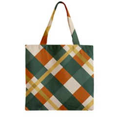 Autumn Plaid Zipper Grocery Tote Bag by Alisyart