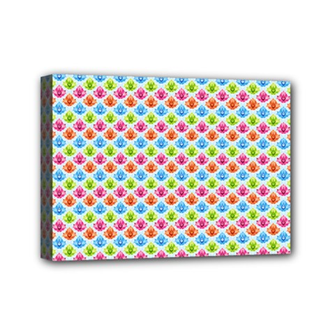Colorful Floral Seamless Red Blue Green Pink Mini Canvas 7  X 5  by Alisyart