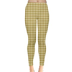 Golden Yellow Tablecloth Plaid Line Leggings  by Alisyart