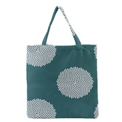 Green Circle Floral Flower Blue White Grocery Tote Bag by Alisyart