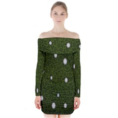 Graphics Green Leaves Star White Floral Sunflower Long Sleeve Off Shoulder Dress by Alisyart