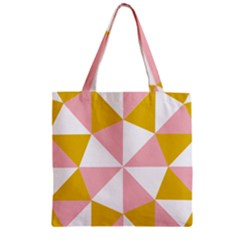 Learning Connection Circle Triangle Pink White Orange Zipper Grocery Tote Bag by Alisyart