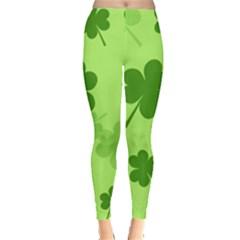 Leaf Clover Green Line Leggings  by Alisyart