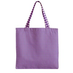 Purple Tablecloth Plaid Line Zipper Grocery Tote Bag