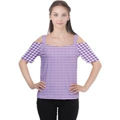 Purple Tablecloth Plaid Line Women s Cutout Shoulder Tee by Alisyart