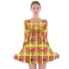 Funny Faces Long Sleeve Skater Dress by Amaryn4rt